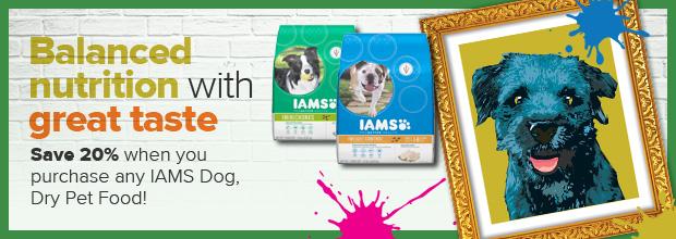 Save 20% on IAMS dog