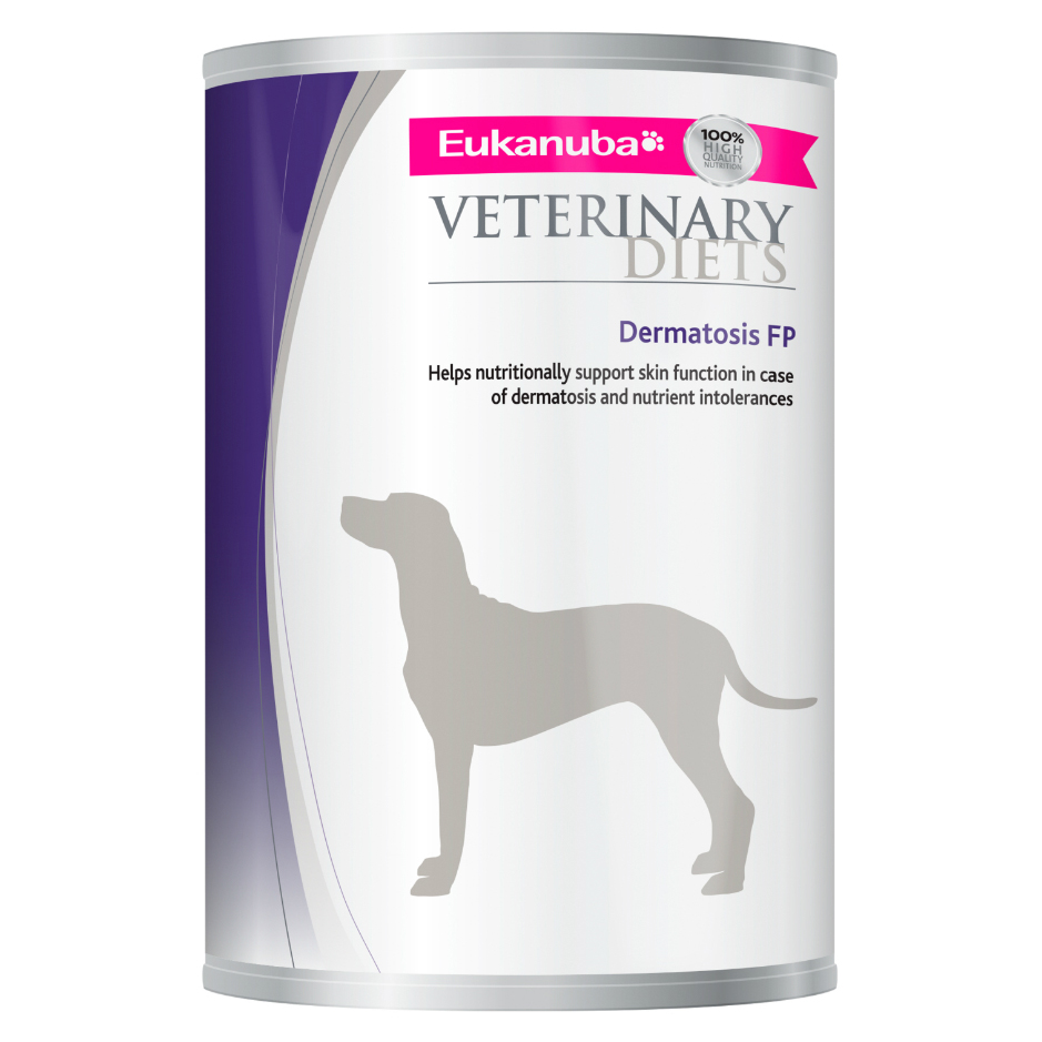 Eukanuba Veterinary Diets Dermatosis FP Dog Food Wet 12x400g Can on Animed Direct