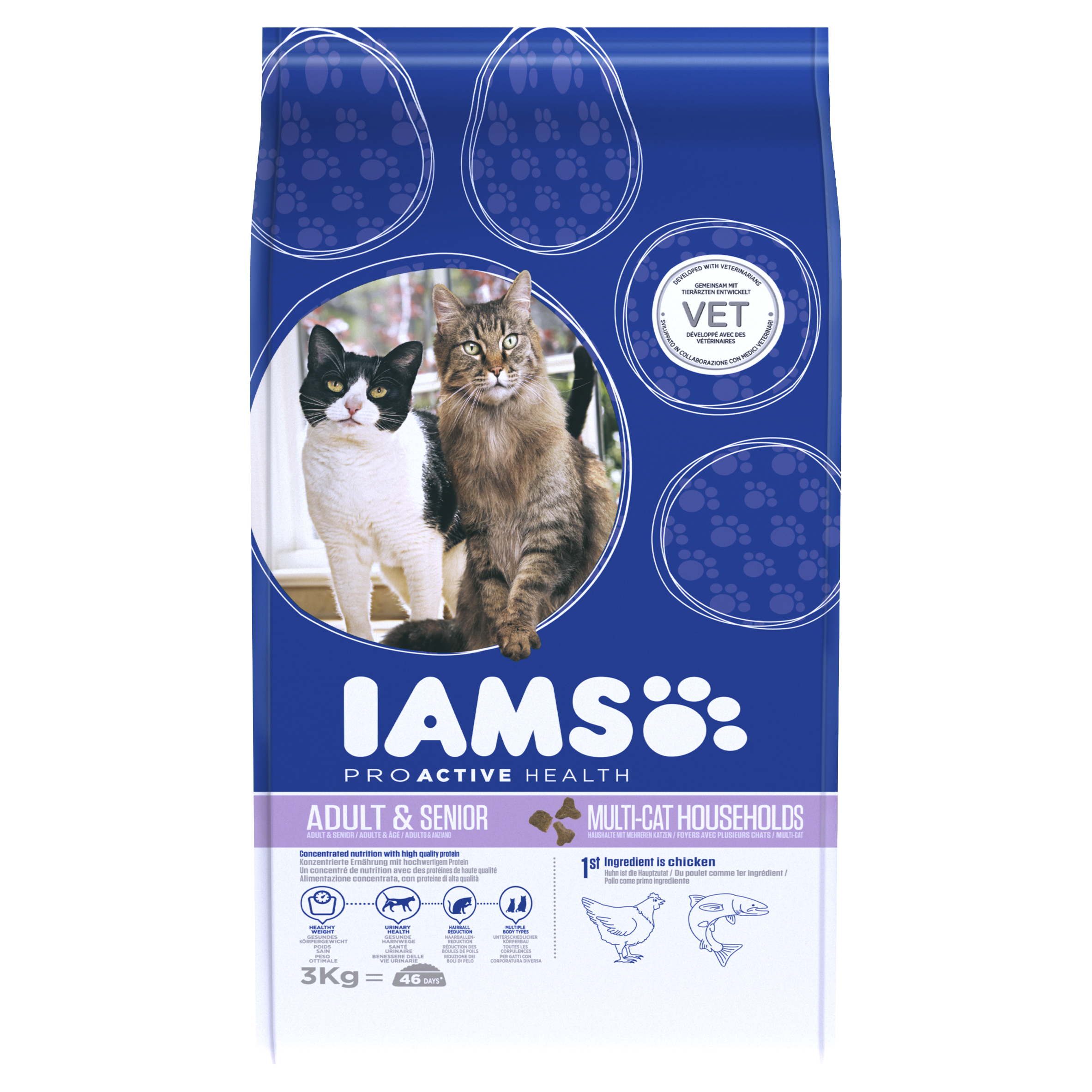 IAMS ProActive Health Adult & Senior Multi-Cat with Chicken & Salmon Dry 3kg on Animed Direct