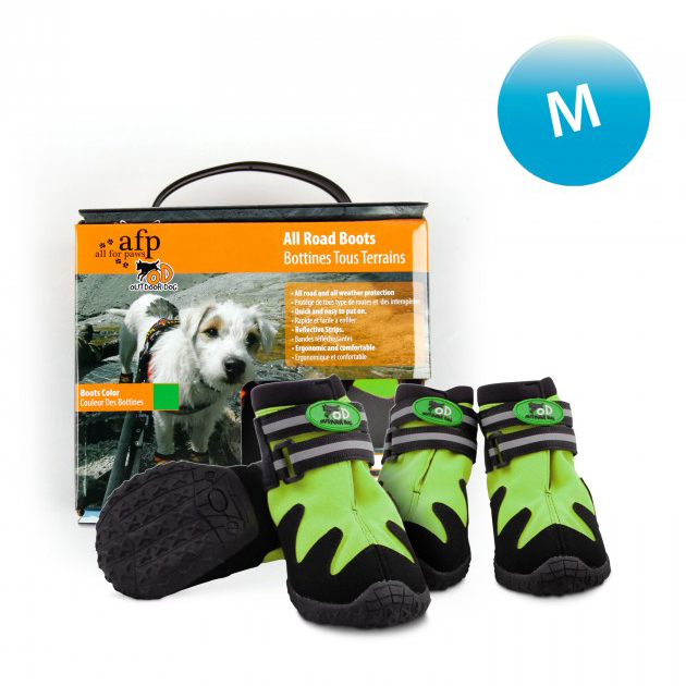 All For Paws Outdoor Dog All Road Boots Green - Medium on Animed Direct