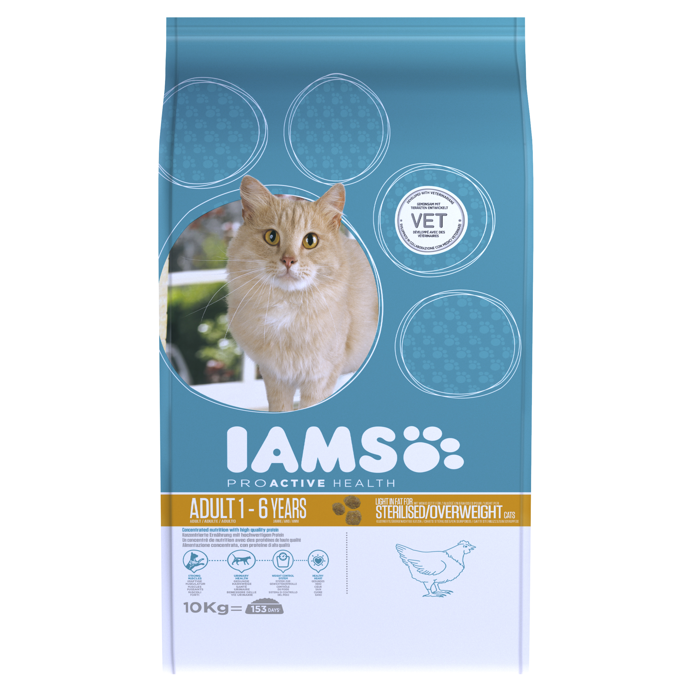 IAMS ProActive Health Indoor Adult Cat Weight & Hairball Care with Chicken Dry 10kg on Animed Direct