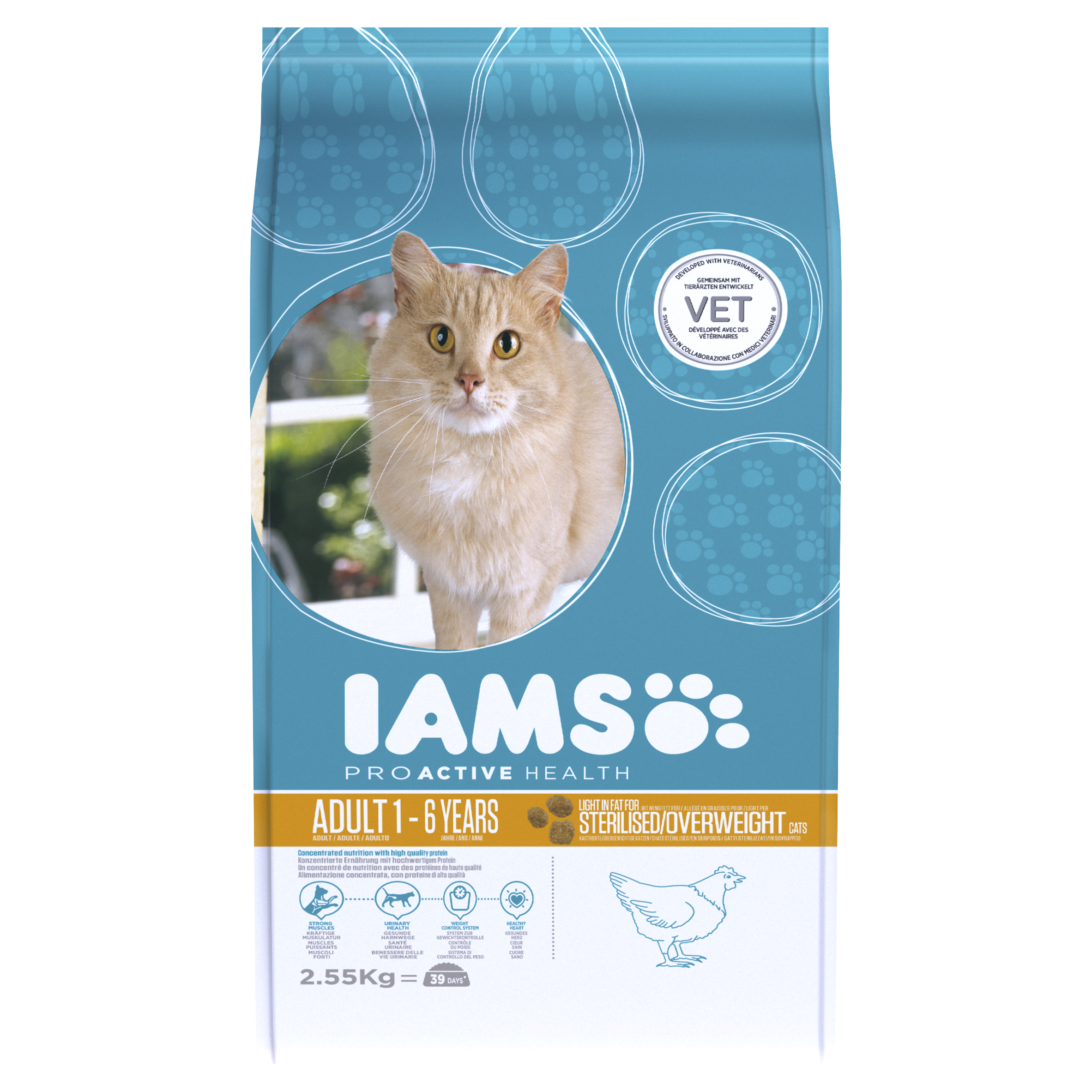IAMS ProActive Health Indoor Adult Cat Weight & Hairball Care with Chicken Dry 2.55kg on Animed Direct