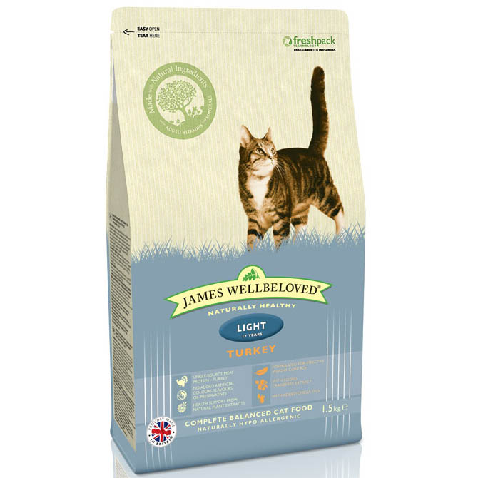 James Wellbeloved Light Adult Cat with Turkey Dry 1.5kg on Animed Direct