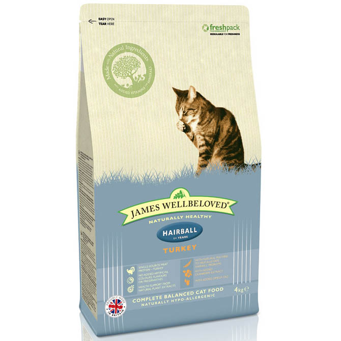 James Wellbeloved Hairball Cat Food with Turkey Dry 4kg on Animed Direct
