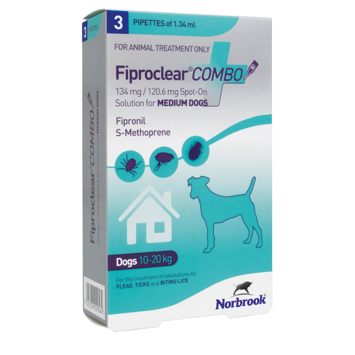 Fiproclear Combo Spot On Solution for Medium Dogs (10-20kg) - Pack of 3 on Animed Direct