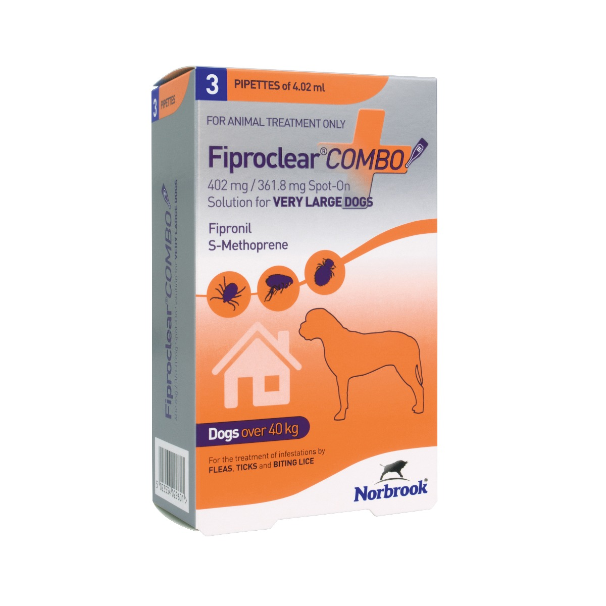 Fiproclear Combo Spot On Solution for Very Large Dogs (40-60kg) - Pack of 3 on Animed Direct