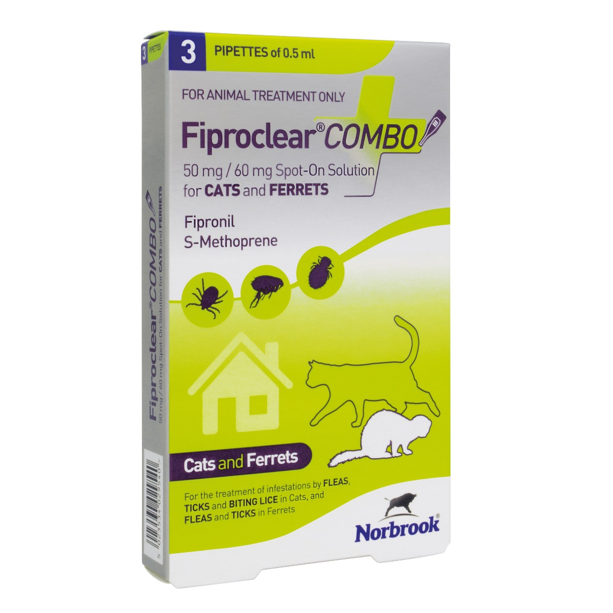 Fiproclear Combo Spot On Solution for Cats & Ferrets- Pack of 3 on Animed Direct