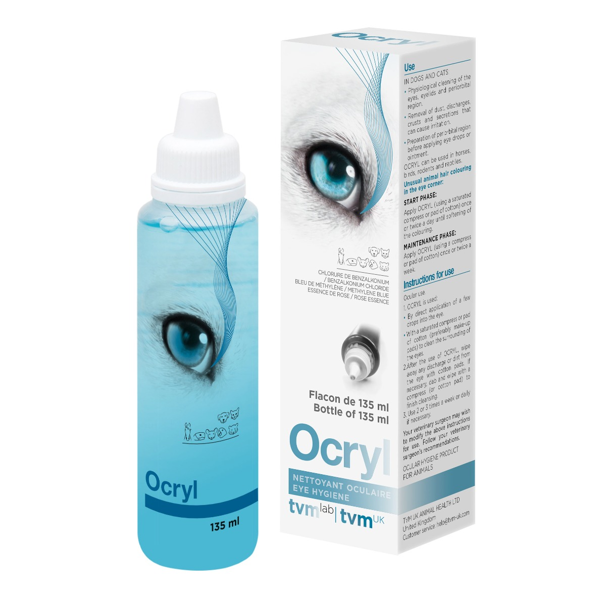 Ocryl Tear Stain Remover & Eye Cleansing Solution 135ml on Animed Direct