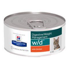 Hills Prescription Diet W/D Digestive/Weight Management Feline with Chicken Wet 24x156g Can