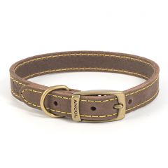 Ancol Timberwolf Leather Dog Collar Sable