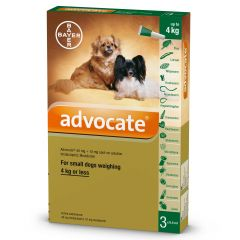 Advocate 40 for Small Dogs up to 4kg - Pack of 3