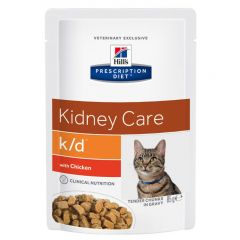 Hills Prescription Diet Kidney Care K/D Feline Tender Chunks in Gravy 12x85g Pouch