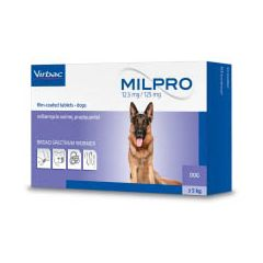 Milpro Worming Tablet for Dogs (12.5mg/125mg)