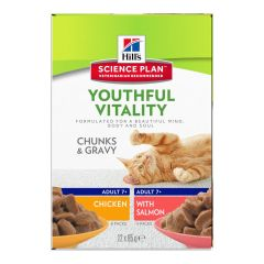 Hills Science Plan Youthful Vitality Adult Cat 7+ Multipack 12x85g Wet Pouches