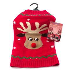 Animate Red Reindeer/Pompom Nose Crew Neck Jumper