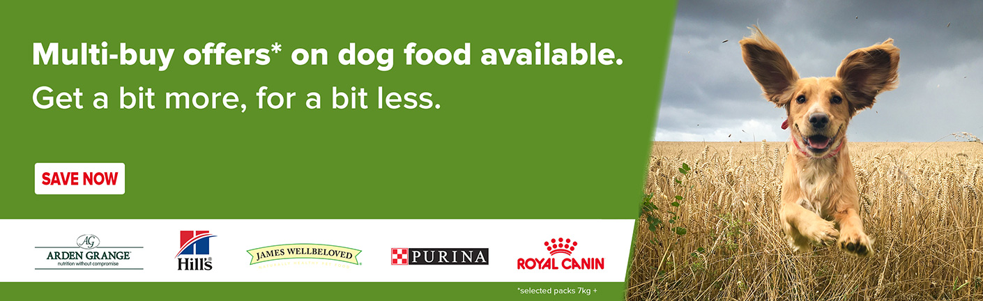 Multi buy offers on selected dog food available