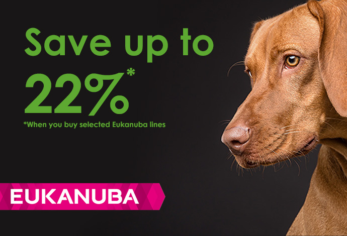 Up to 22% off selected EUKANUBA dog food during Sept 2018