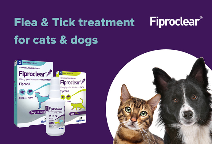 Fiproclear flea and tick treatment for cats and dogs