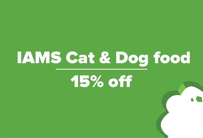 15% off IAMS Dog and Cat Food