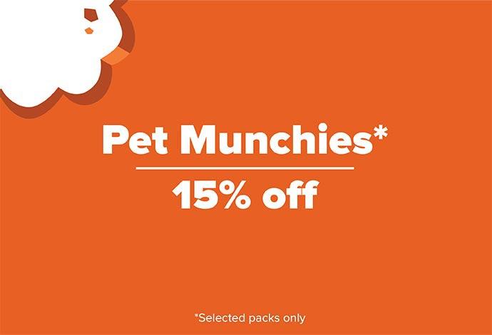 15% off selected packs of Pet Munchies
