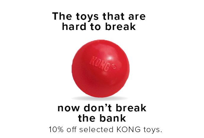 10% off selected Kong toys, offer ends 1st March