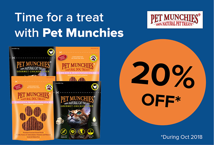 20% off Pet Munchie treats during October