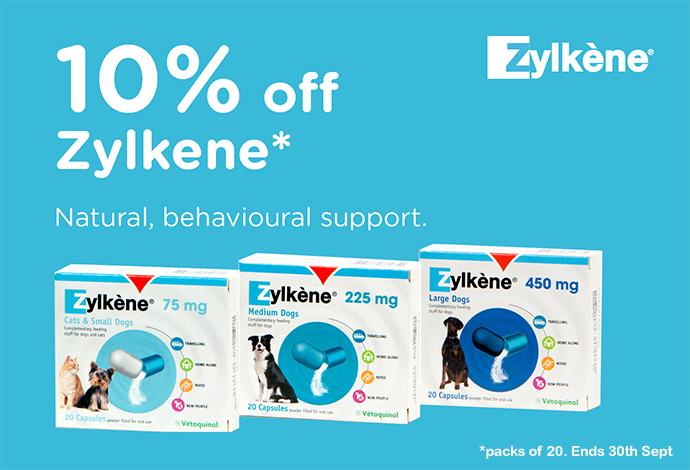 10% off Zylkene calming supplement packs of 20 Sept 2018